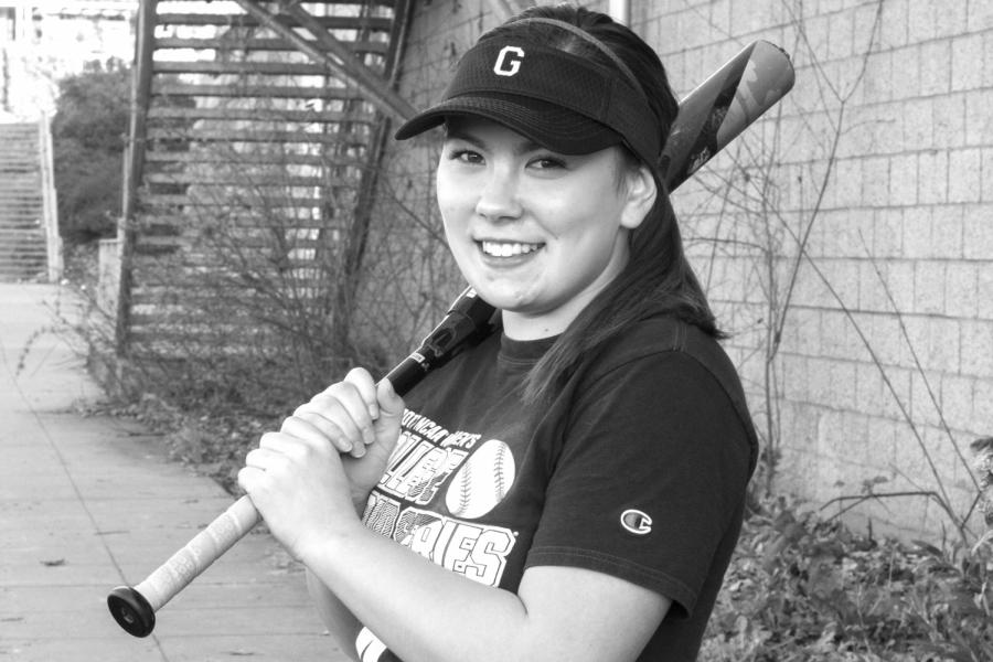 senior+captain+Josie+Barker+sports+a+softball+bat