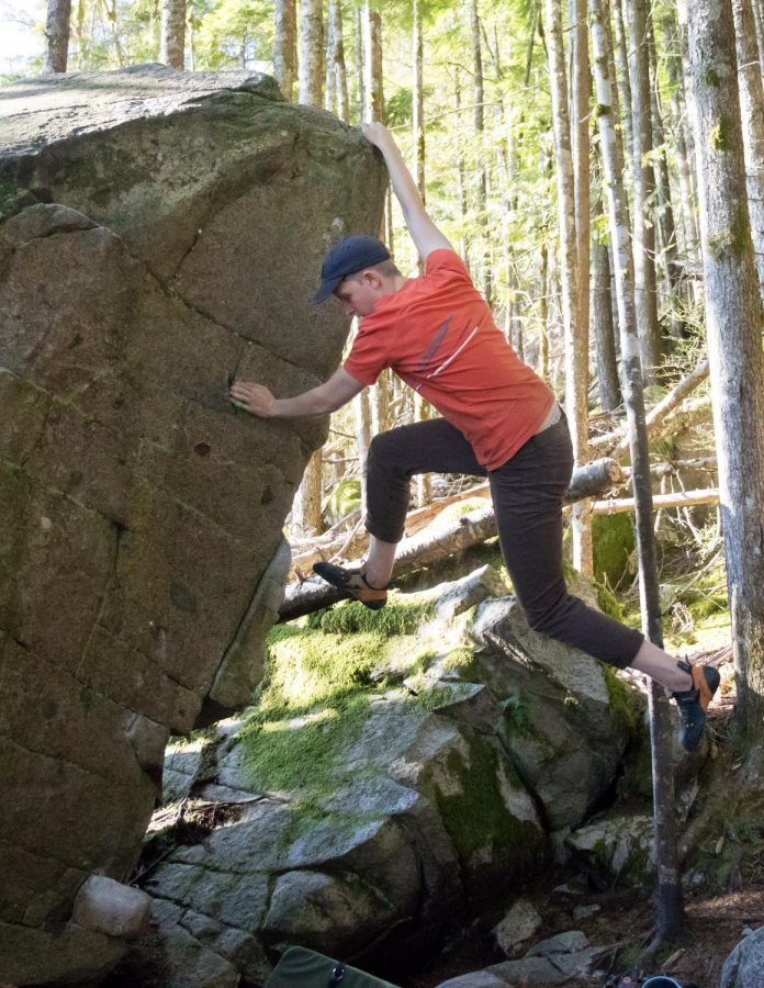 Jefferson Ashby bouldering in Gold Bar, Washington.