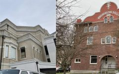 Langston Hughes Performing Arts Institute on left, Washington Hall on right.