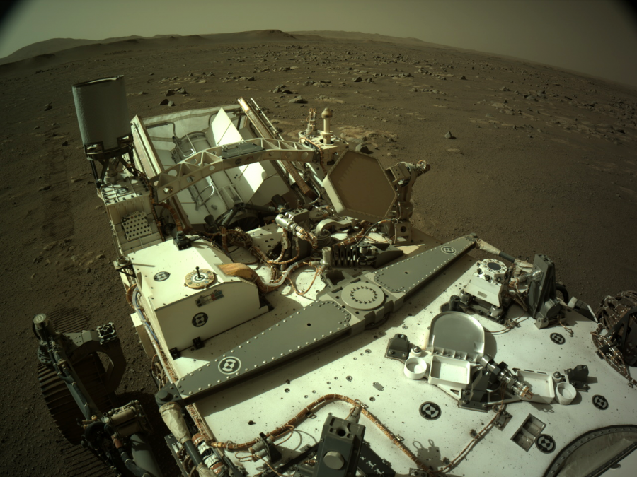 A photo acquired by one of Perseverance's cameras. Image Credit: NASA/JPL-Caltech